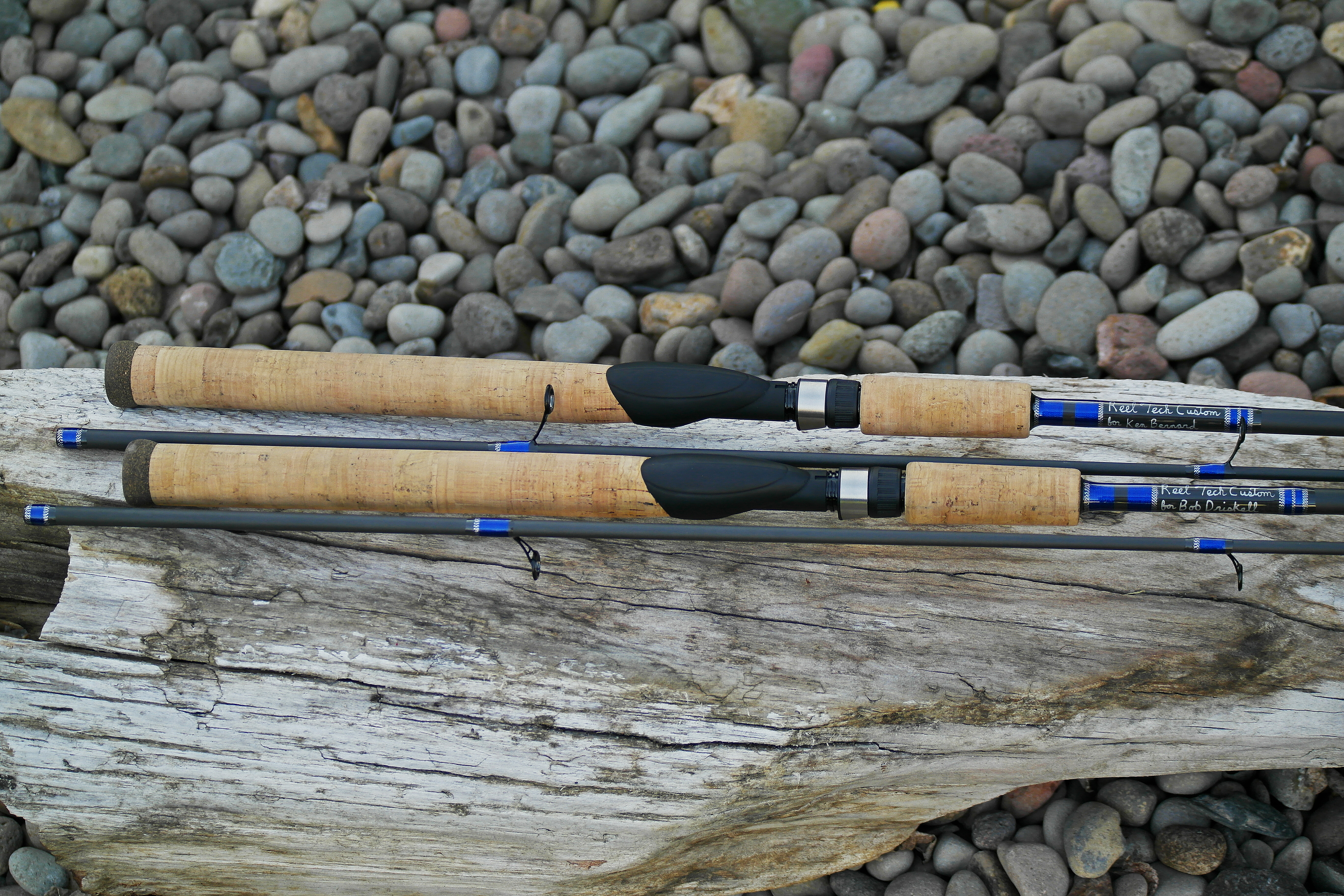 Reel tech custom rods pair of 10 39 6 steelhead spinning for Personalized fishing pole