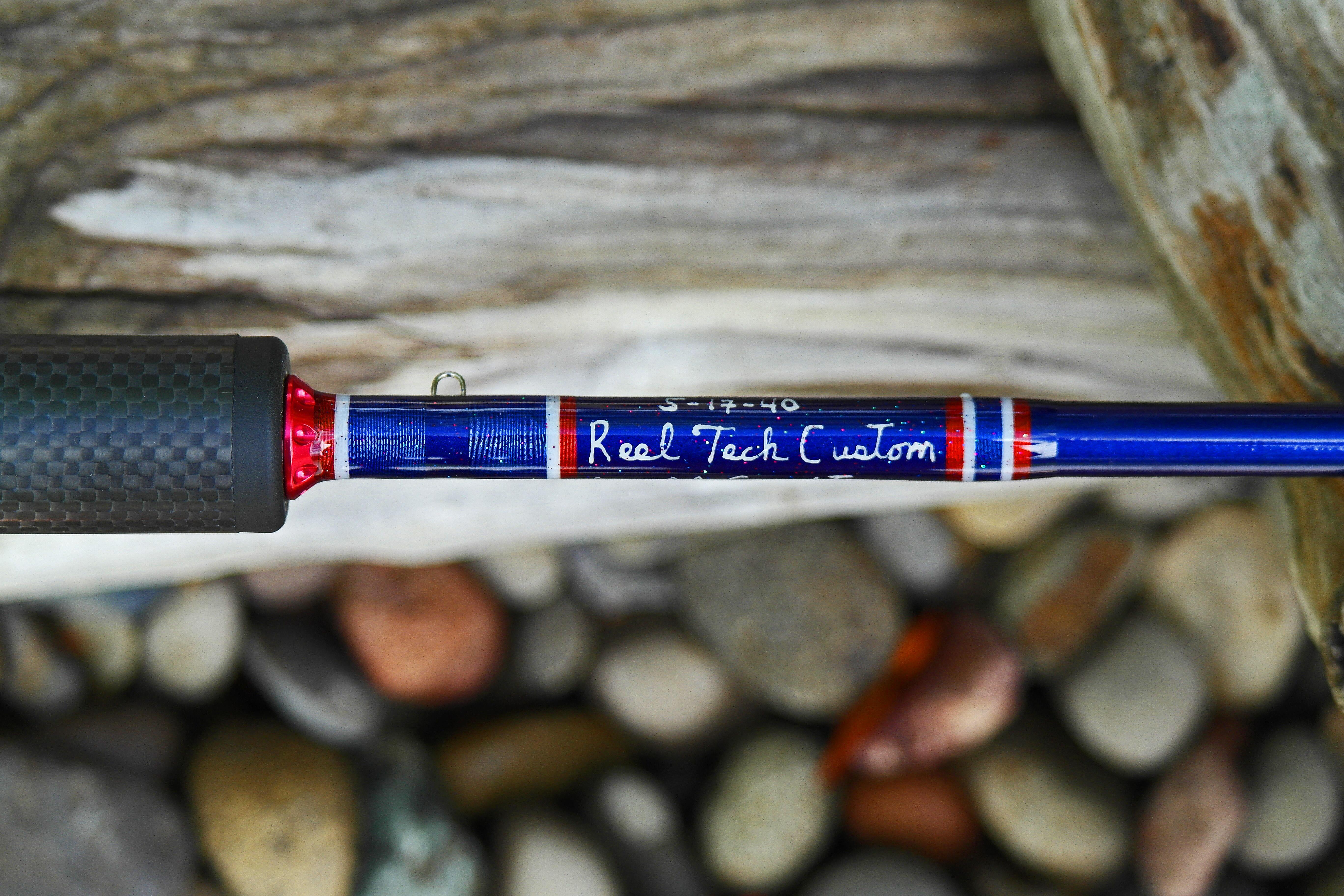 Reel tech custom rods stunning patriotic custom www for Red fishing rod